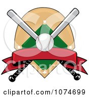 Clipart Baseball Bat Banner Field And Ball Logo 4 Royalty Free Vector Illustration