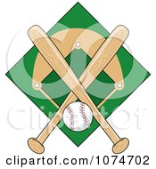 Clipart Baseball Bat Field And Ball Logo 1 Royalty Free Vector Illustration