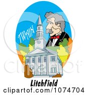 Clipart Mark Twain Over The First Congregational Church In Litchfield Connecticut Royalty Free Vector Illustration by Andy Nortnik