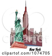 Clipart The Statue Of Liberty And Skyscrapers In New York Royalty Free Vector Illustration