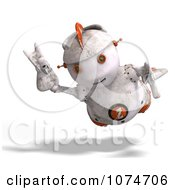 Clipart 3d Distressed White Robot Flying 1 Royalty Free CGI Illustration