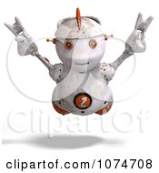 Clipart 3d Distressed White Robot Flying 3 Royalty Free CGI Illustration