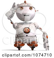 Clipart 3d Distressed White Robot Shielding His Eyes 1 Royalty Free CGI Illustration