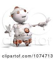 Clipart 3d Distressed White Robot Reaching 1 Royalty Free CGI Illustration by Ralf61
