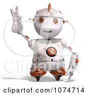 Clipart 3d Distressed White Robot Reaching 2 Royalty Free CGI Illustration