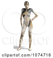 Clipart 3d Tan Cyborg Woman Royalty Free CGI Illustration