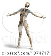 Clipart 3d Tan Cyborg Woman Leaning Back Royalty Free CGI Illustration