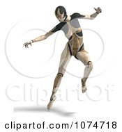 Clipart 3d Tan Cyborg Woman Jumping Royalty Free CGI Illustration
