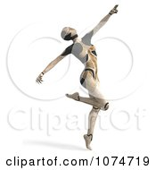Clipart 3d Tan Cyborg Woman Dancing Royalty Free CGI Illustration