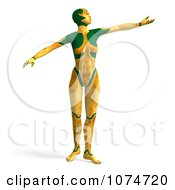 Clipart 3d Yellow Cyborg Woman Dancing Royalty Free CGI Illustration