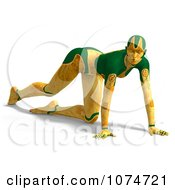 Clipart 3d Yellow Cyborg Woman Crawling Royalty Free CGI Illustration