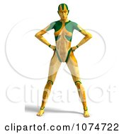 Clipart 3d Yellow Cyborg Woman Royalty Free CGI Illustration