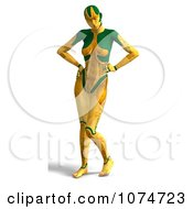 Clipart 3d Yellow Cyborg Woman Posing Royalty Free CGI Illustration