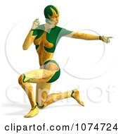 Clipart 3d Yellow Cyborg Woman Pointing And Kneeling Royalty Free CGI Illustration