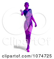 Clipart 3d Purple Cyborg Woman Reaching Out Royalty Free CGI Illustration