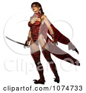 3d Warrior Princess Standing With A Sword