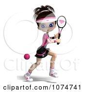 Clipart 3d Brunette Tennis Girl 1 Royalty Free CGI Illustration