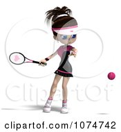 Clipart 3d Brunette Tennis Girl 2 Royalty Free CGI Illustration