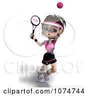 Clipart 3d Brunette Tennis Girl 4 Royalty Free CGI Illustration