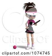 Clipart 3d Brunette Tennis Girl 5 Royalty Free CGI Illustration