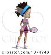 Clipart 3d Black Tennis Girl 1 Royalty Free CGI Illustration