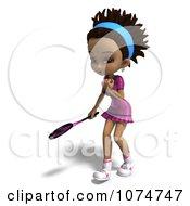 Clipart 3d Black Tennis Girl 2 Royalty Free CGI Illustration