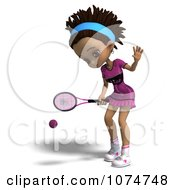 Clipart 3d Black Tennis Girl 3 Royalty Free CGI Illustration