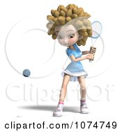 Clipart 3d Blond Fro Tennis Girl 3 Royalty Free CGI Illustration