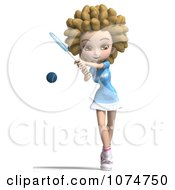 Clipart 3d Blond Fro Tennis Girl 2 Royalty Free CGI Illustration by Ralf61