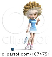 Clipart 3d Blond Fro Tennis Girl 1 Royalty Free CGI Illustration