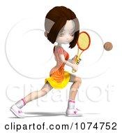 Clipart 3d Brunette Tennis Girl 6 Royalty Free CGI Illustration