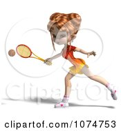 Clipart 3d Red Haired Tennis Girl Royalty Free CGI Illustration