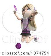 Clipart 3d Blond Tennis Girl 2 Royalty Free CGI Illustration