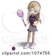 Clipart 3d Blond Tennis Girl 1 Royalty Free CGI Illustration