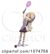 Clipart 3d Blond Tennis Girl 3 Royalty Free CGI Illustration