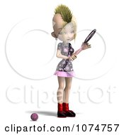 Clipart 3d Blond Mohawk Tennis Girl 1 Royalty Free CGI Illustration