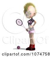 Clipart 3d Blond Mohawk Tennis Girl 2 Royalty Free CGI Illustration
