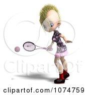 Clipart 3d Blond Mohawk Tennis Girl 3 Royalty Free CGI Illustration