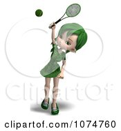 Clipart 3d Green Haired Tennis Girl 2 Royalty Free CGI Illustration