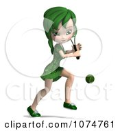 Clipart 3d Green Haired Tennis Girl 1 Royalty Free CGI Illustration