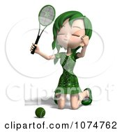 Clipart 3d Green Haired Tennis Girl 3 Royalty Free CGI Illustration