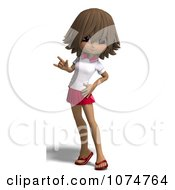 Clipart Brunette School Girl Gesturing Royalty Free CGI Illustration