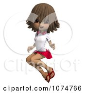 Clipart Brunette School Girl Jumping Royalty Free CGI Illustration