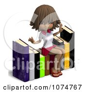 Clipart Brunette School Girl Sitting On Books 1 Royalty Free CGI Illustration