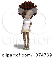 3d Black School Girl With An Afro