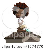 Clipart 3d Black School Girl With An Afro Kneeling On A Book Royalty Free CGI Illustration