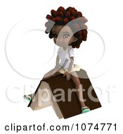 Clipart 3d Black School Girl With An Afro Sitting On A Book Royalty Free CGI Illustration