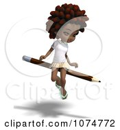 Clipart 3d Black School Girl With An Afro Sitting On A Pencil Royalty Free CGI Illustration