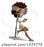 Clipart 3d Black School Girl With An Afro Leaning Against A Pencil Royalty Free CGI Illustration