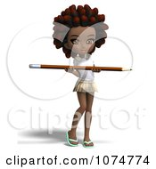 Clipart 3d Black School Girl With An Afro Carrying A Pencil Royalty Free CGI Illustration